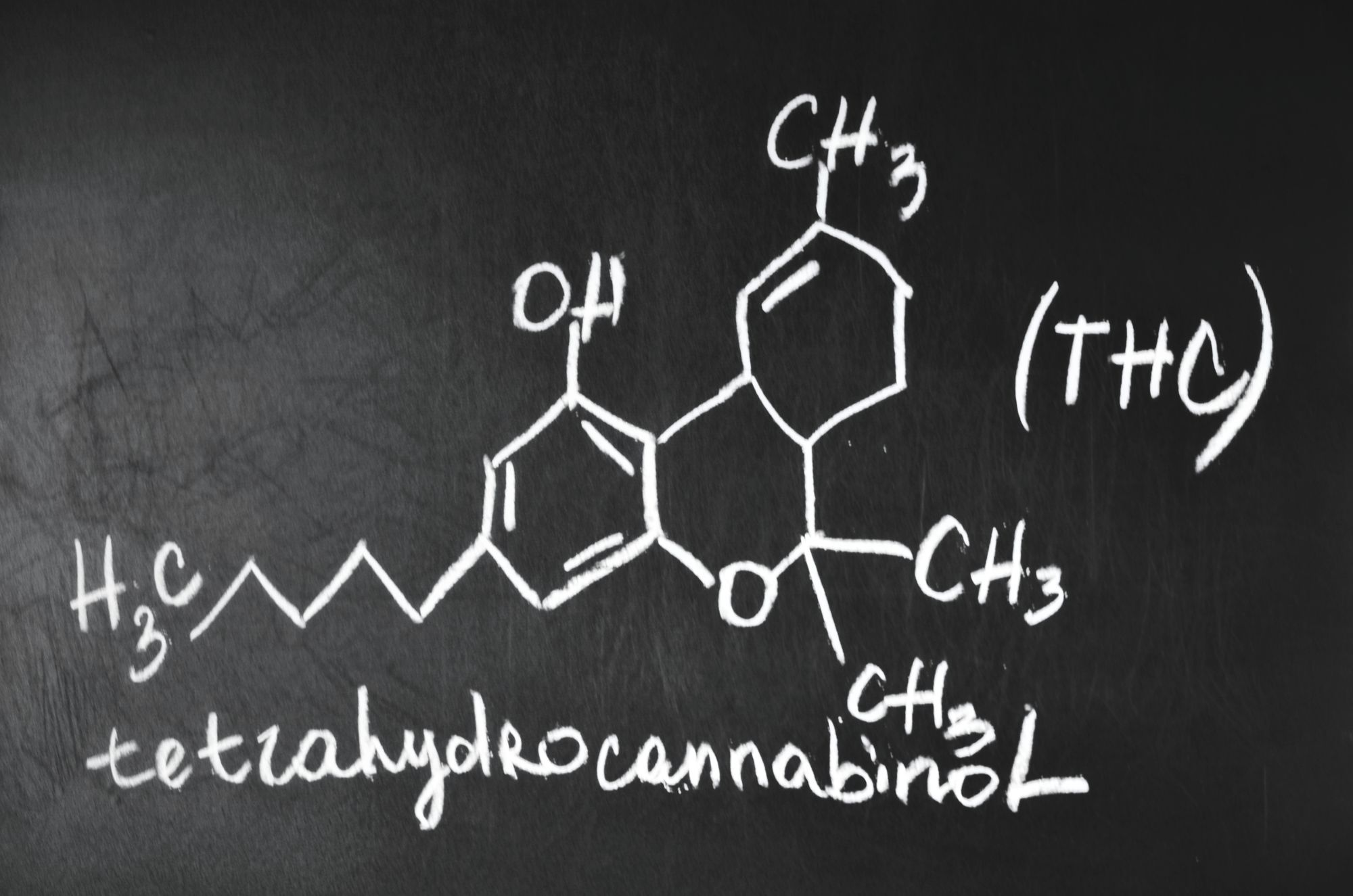 Image: blackboard with molecule