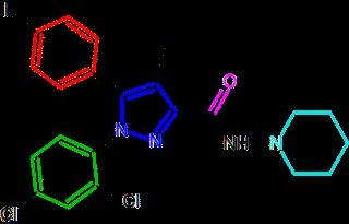 Image of coloured molecules on a black background